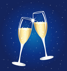 Champagne toast cups on a blue starry background.