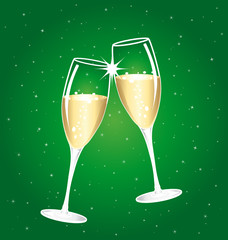 Champagne toast cups on a green starry background.