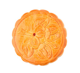 Festival moon cake on white background