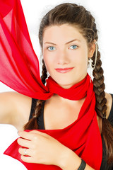 Red silk scarf. Portrait of a girl