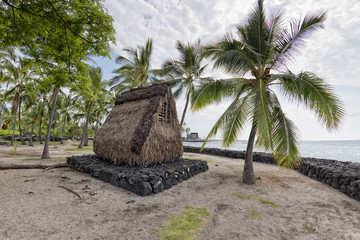 hawaiian hut on the beach