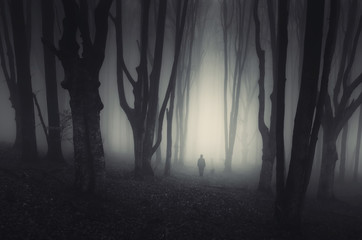 spooky forest landscape with man and twisted trees on halloween