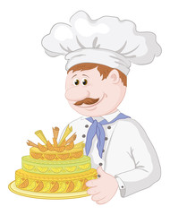Cartoon cook with holiday cake