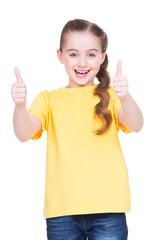 Happy girl showing thumbs up gesture.