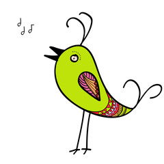 Doodle of green singing bird