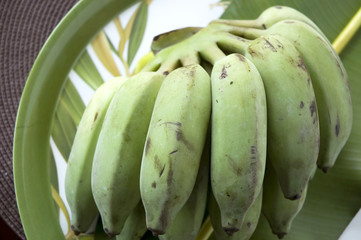 bunch of green banana