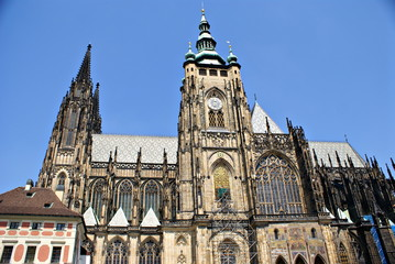 Exterior facade view of  St. Vitus cathedral in Prague Castle