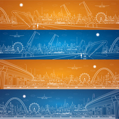 industrial panorama, cargo port panorama, vector lines, ship