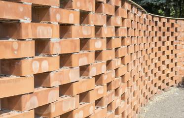 Curved brick wall pattern