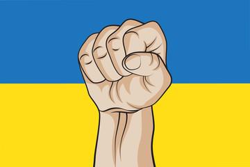 Fist against the Ukrainian flag