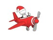 little sketchy man with santa hat flying in a red plane