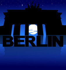 Brandenburg Gate reflected with text and moon illustration