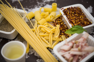 Pasta and typical ingredients of Italian cuisine