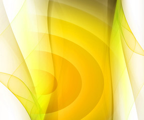 Yellow smooth twist light lines on white background