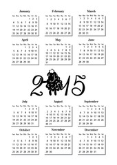 simple calendar 2015 with ram
