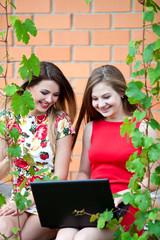 Две красивые девушки за компьютером на природе