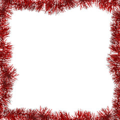 red frame from tinsel on white