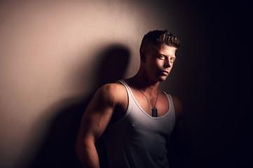 Handsome bodybuilder posing