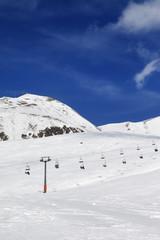 Ski resort at sunny winter day