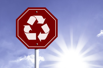 Recycle Icon red sign with sun background