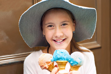 Sweet colored dream! Girl with many ice-cream.