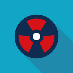 Radiation Flat style Icon with long shadows