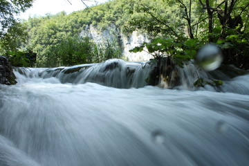 Waterfall in Plitvice Park at water level, Unesco in Croatia