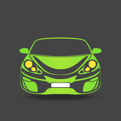 green silhouette of a sports car