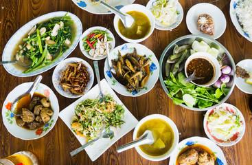 Burmese food on a table