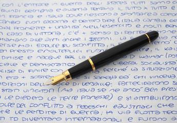 Fountain pen on sheet
