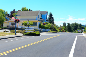 Main street in historical town Steilacoom.