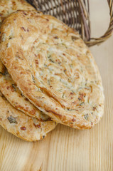 Puff pastry with cheese, parsley, dill and spring onions