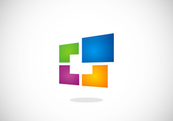 square window technology abstract vector logo