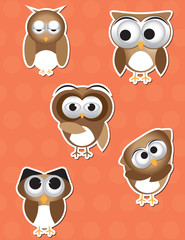 Owl cartoon sticker