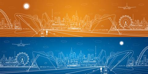 Industrial cargo port panorama, landscape, night city, ship