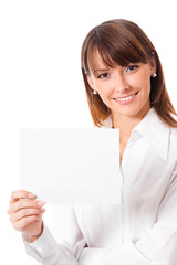 Businesswoman with blank signboard