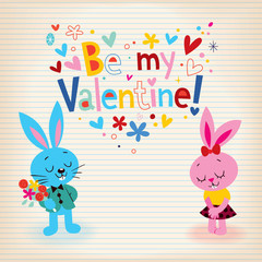 Bunnies in love Valentine's day card
