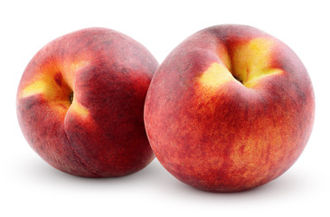 Two peaches isolated on white background with clipping path