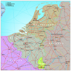 Road and administrative map of Belgium and Netherlands
