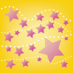 abstract pink star with white dot on yellow background