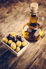 olive oil rustic wooden background