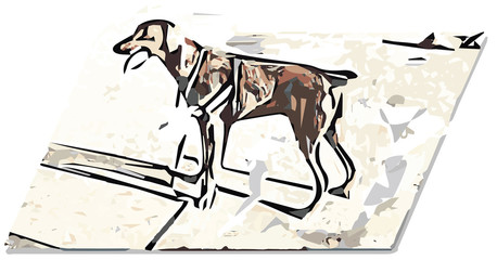 Stylized dog on beach