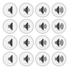 Vector of flat icon, speaker set on isolated background