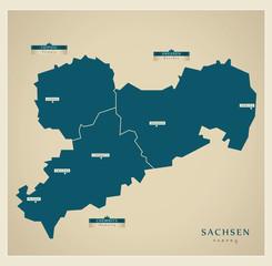 Moderne Landkarte - Sachsen