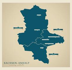 Moderne Landkarte - Sachsen Anhalt