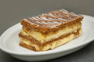 french mille-feuille cake closeup
