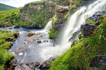 Two waterfalls on the Isle of Skye in Scotland