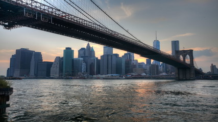 The Brooklyn Bridge as night falls