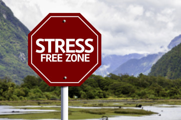 Stress Free Zone red sign with a landscape background