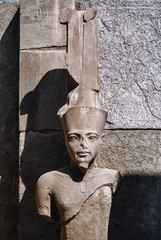 Egypt, Luxor, Karnak Temple ruins, statue - FILM SCAN